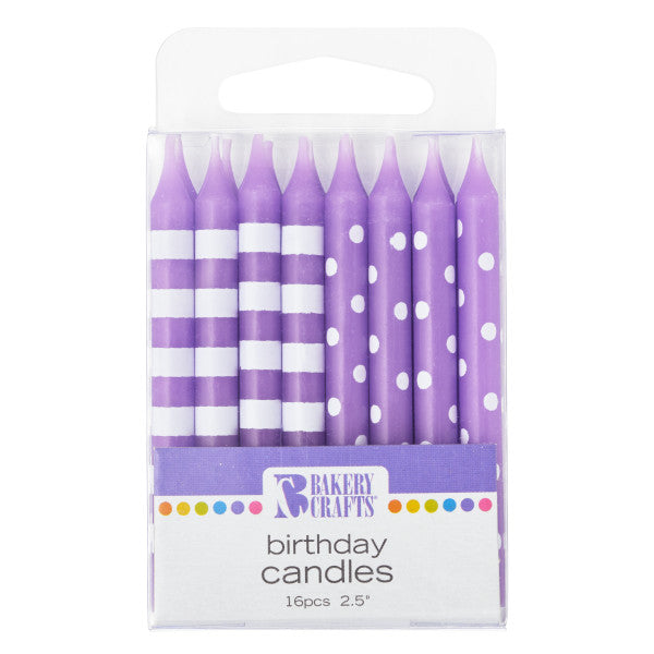 A Birthday Place - Cake Toppers - Purple Stripes & Dots Pattern Candles
