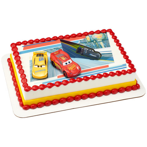 Cars 3 Ahead of The Curve Edible Cake Topper Image DecoSet® Background