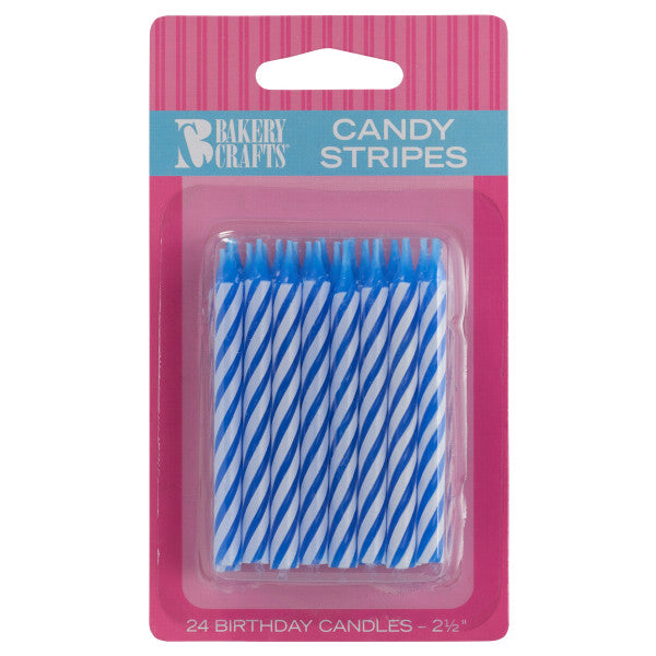 A Birthday Place - Cake Toppers - Blue Candy Stripe Spiral Candles