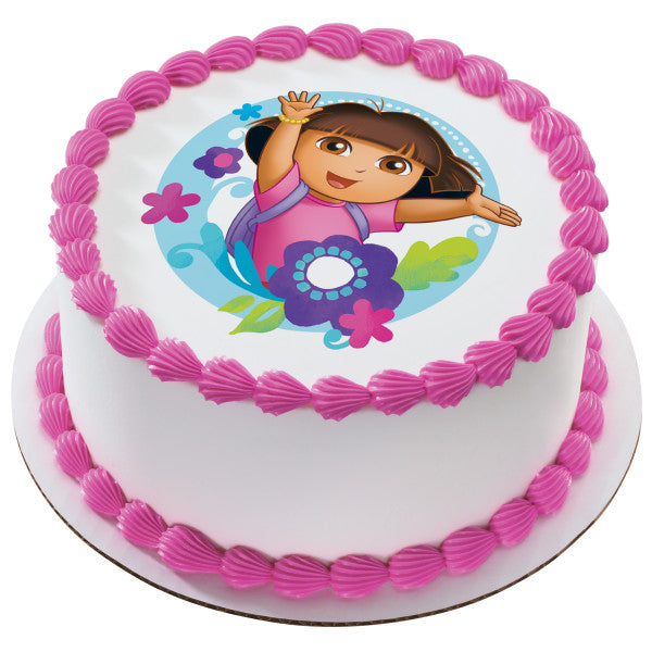 Dora the Explorer™ Flowers Edible Cake Topper Image