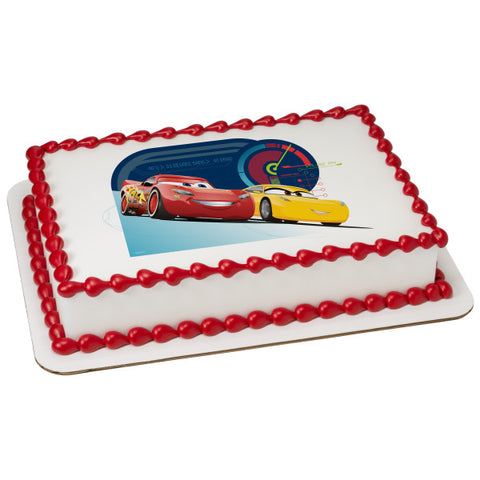 A Birthday Place - Cake Toppers - Cars 3 Race Ready Edible Cake Topper Image