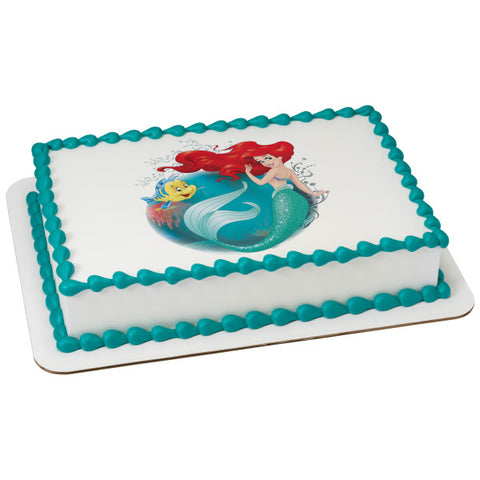 A Birthday Place - Cake Toppers - Disney Princess The Little Mermaid Make A Splash Edible Cake Topper Image