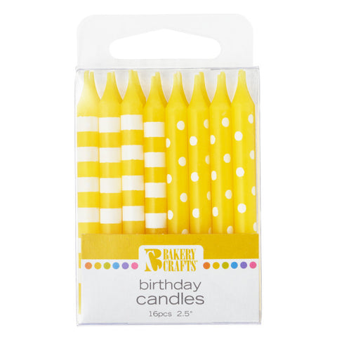 A Birthday Place - Cake Toppers - 16 Yellow Stripes & Dots Pattern Candles
