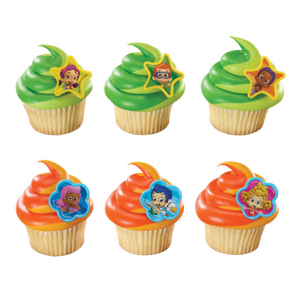 A Birthday Place - Cake Toppers - Bubble Guppies Gil, Molly and Gang Cupcake Rings