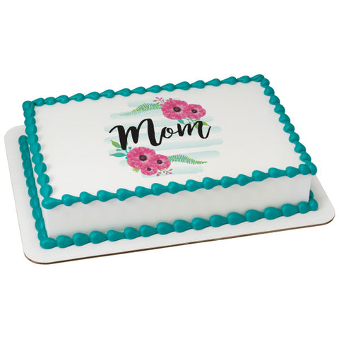 Mom With Poppies Edible Cake Topper Image