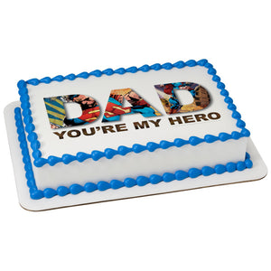 A Birthday Place - Cake Toppers - Superman You're My Hero Edible Cake Topper Image