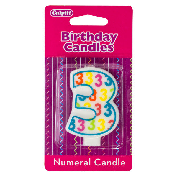 Number 3 Pattern Numeral Candles A Birthday Place