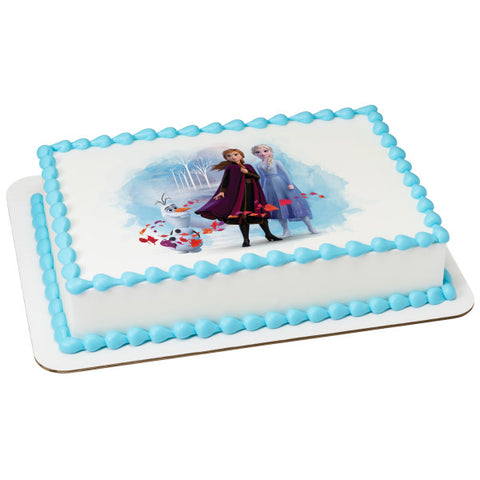 Disney Frozen II Elsa, Anna and Olaf Edible Cake Topper Image