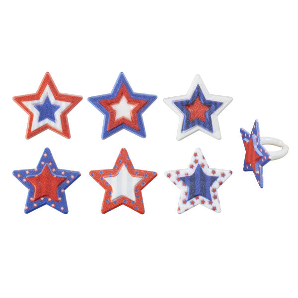 A Birthday Place - Cake Toppers - Printed Star Assortment Cupcake Rings Cupcake Rings