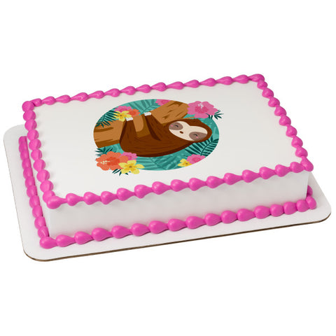 Sloth Edible Cake Topper Image