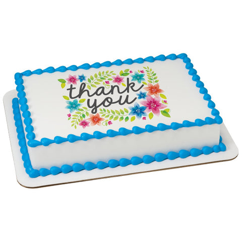 Thank You Flowers Edible Cake Topper Image