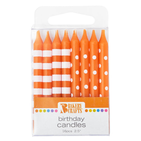 A Birthday Place - Cake Toppers - Orange Stripes & Dots Candles