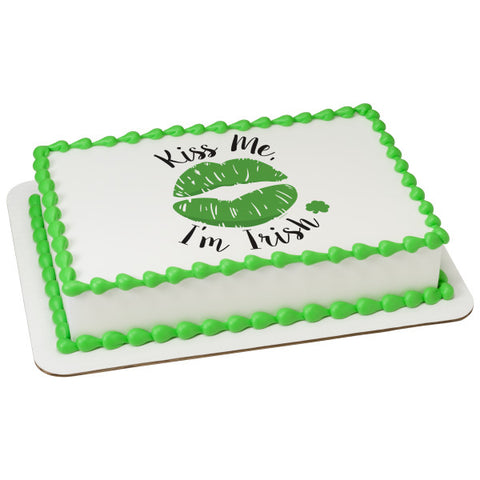 Kiss Me I'm Irish Edible Cake Topper Image