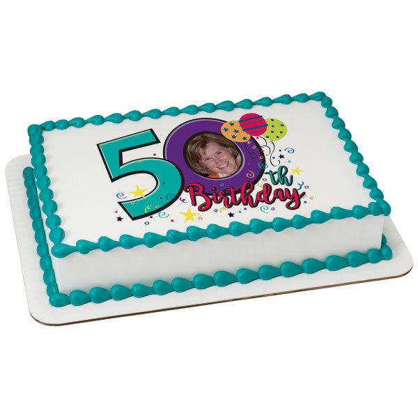 Happy 50th Birthday Edible Caker Topper Frame
