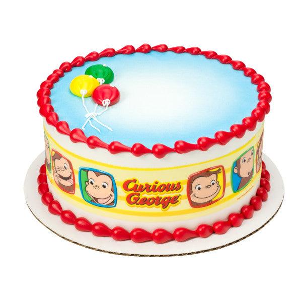 A Birthday Place - Cake Toppers - Curious George® Funny Faces Edible Cake Topper Image