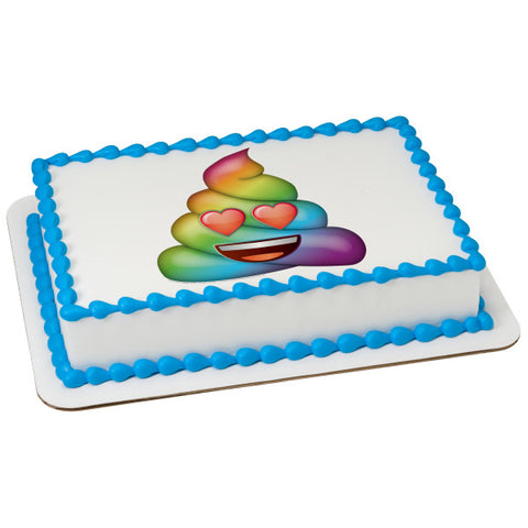 Emoji-Rainbow Love Poo Edible Cake Topper Image