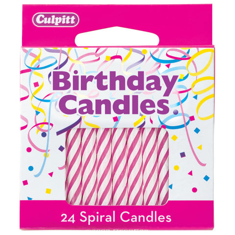 "24 Pink 2 ½"" Smooth & Spiral Candles"