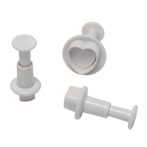 Heart Plunger, 3 Piece Set Cutters/Molds
