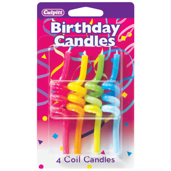 A Birthday Place - Cake Toppers - 4 Crazy Primary Coil Candles
