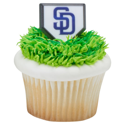 MLB® Home Plate Team Logo Cupcake Rings - San Diego Padres (12 pieces)