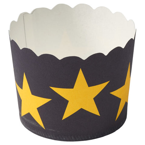 Black with Gold Stars Baking Cups