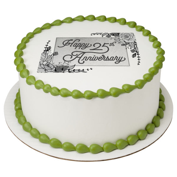 25th Anniversary Edible Cake Topper Image