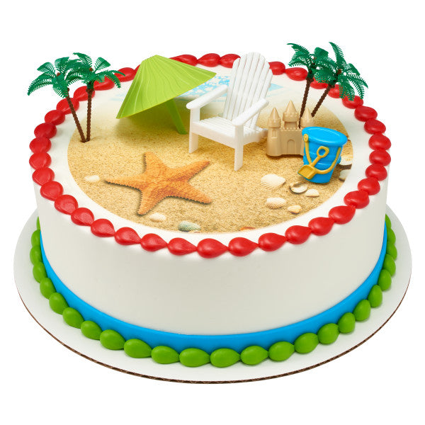 Beach Edible Cake Topper Image DecoSetR Background A Birthday Place