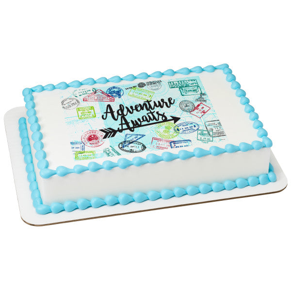 Adventure Awaits Edible Cake Topper Image