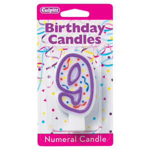 A Birthday Place - Cake Toppers - 9' Purple Numeral Candles