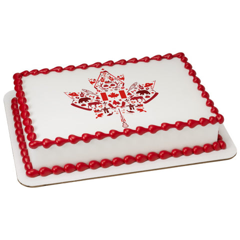Canadian Maple Leaf Edible Cake Topper Image