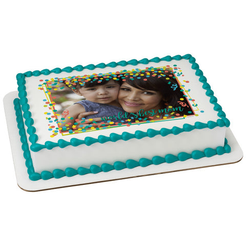 Worlds Best Mom Edible Cake Topper Image Frame