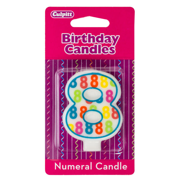 A Birthday Place - Cake Toppers - Number '8' Pattern Numeral Candles