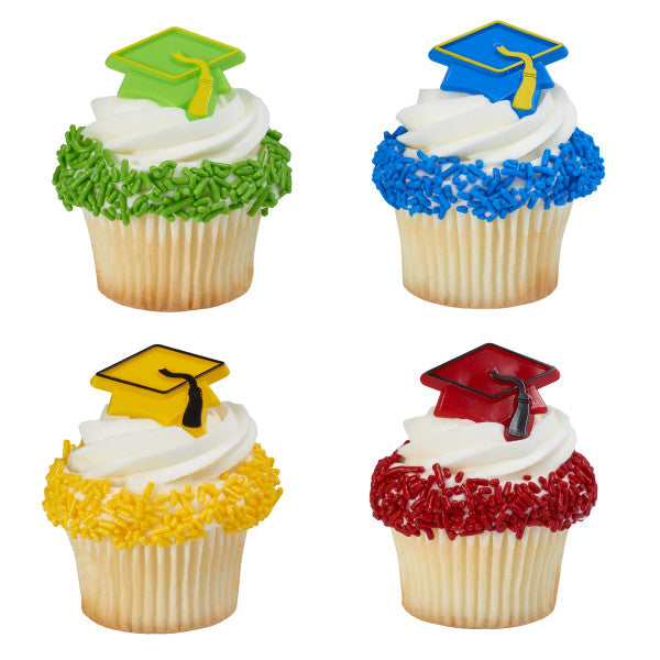 A Birthday Place - Cake Toppers - Grad Hat Assortment Cupcake Rings