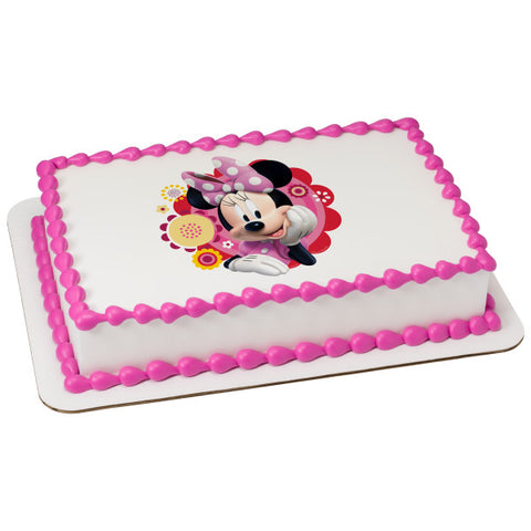 Minnie Dots & Daisies Edible Cake Topper Image
