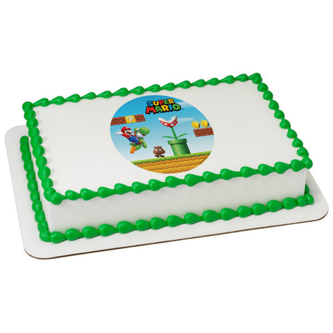 A Birthday Place - Cake Toppers - Super Mario Mushroom Kingdom Edible Cake Topper Image