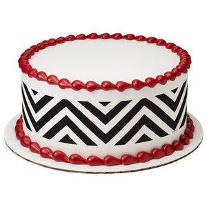 Black & White Chevron Edible Cake Topper Image Strips