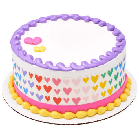 Bright Rainbow Hearts Edible Cake Topper Image Strips