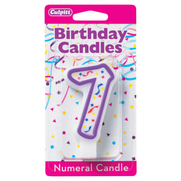 A Birthday Place - Cake Toppers - 7' Purple Numeral Candles