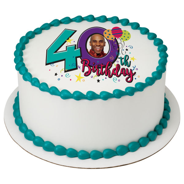 Happy 40th Birthday Edible Cake Topper Frame A Place