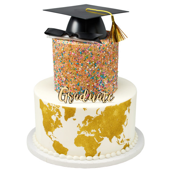 Gold World Map Edible Cake Topper Image