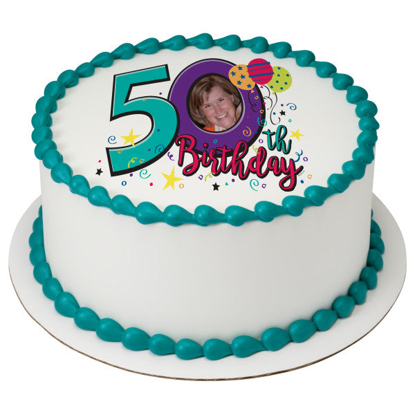 Happy 50th Birthday Edible Cake Topper Image Frame