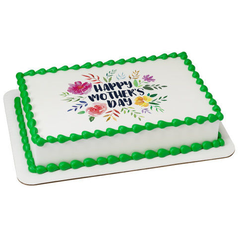 Happy Mother's Day Floral Edible Cake Topper Image