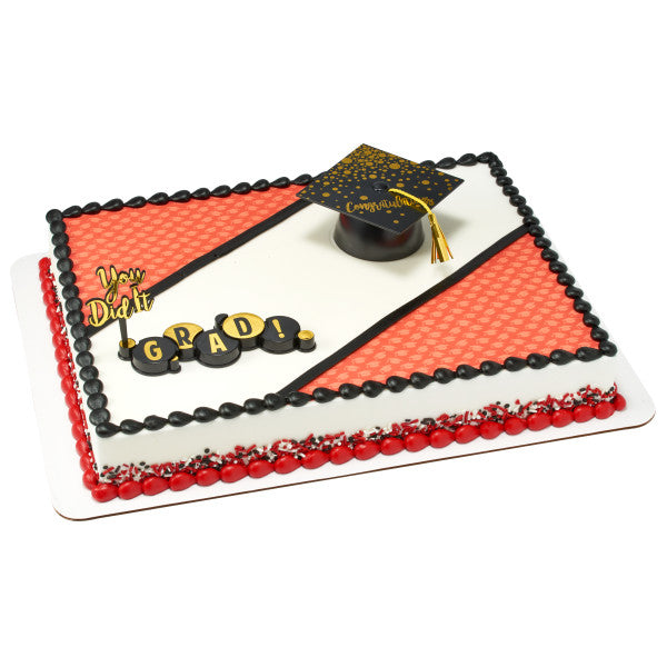 Red Grad Hat Edible Cake Topper Image