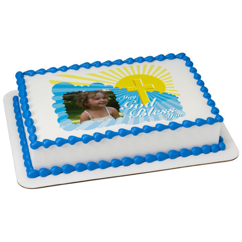 A Birthday Place - Cake Toppers - God Bless Cross Edible Cake Topper Frame