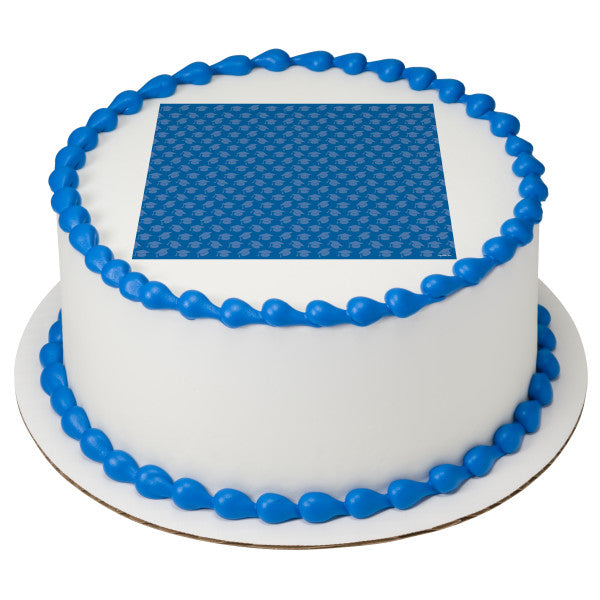 Blue Grad Hats Edible Cake Topper Image