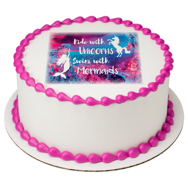 Mermaid And Unicorn Edible Cake Topper Image A Birthday Place