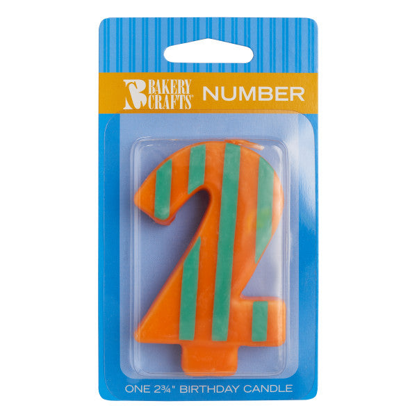 2 Stripes & Dots Numeral Candles