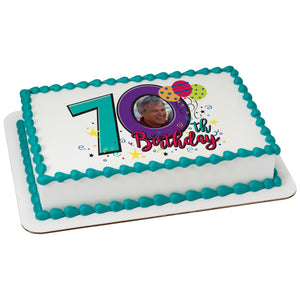 Happy 70th Birthday Edible Caker Topper Frame