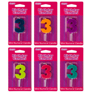 A Birthday Place - Cake Toppers - Mini Color Block Assorted '3' Numeral Candles