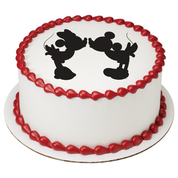Mickey Mouse & Friends Mickey & Minnie Silhouette Edible Cake Topper Image